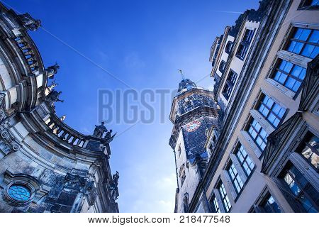 Hausmannsturm, Hausmann tower, of Residenzschloss, Royal Palace. Dresden, Saxony, Germany