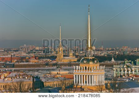View of the spire of the Admiralty and Peter and Paul fortress in St. Petersburg. The historic city centre with St. Isaac's Cathedral.