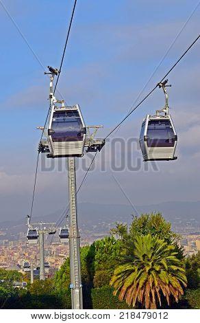 Teleférico of the port to Montjuic in Barcelona