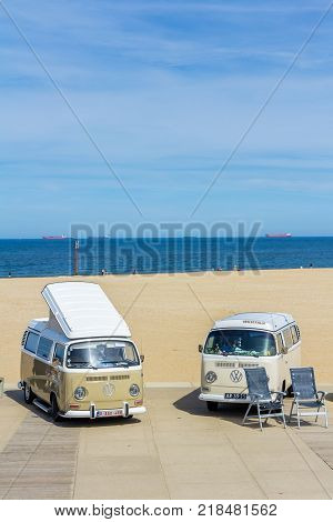 Scheveningen The Hague the Netherlands - 21 May 2017: VW kombi vans at the beach