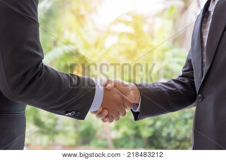 man shake hands business concept Businessmen agreed on a joint contract