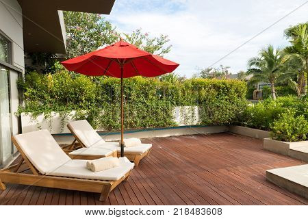 relax on sun loungertowels on outdoor bed