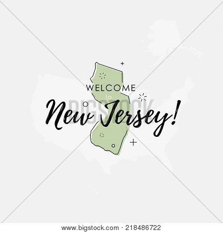 Vector illustration of greeting sign with welcome to New Jersey text and state silhouette.