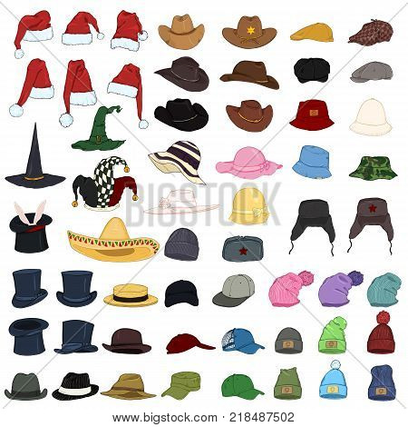 Vector Big Set of Cartoon Color Hats and Caps. 57 Headwear Items.