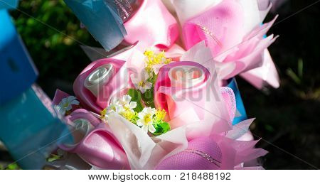 Close up of Pink roses made of fabric