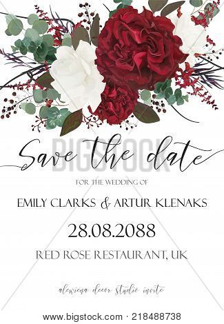 Wedding save the date, invite, invitation, card vector floral bouquet design with garden red, burgundy Rose flower, white peony, seeded Eucalyptus branches, berry, purple agonis, fern, greenery leaves