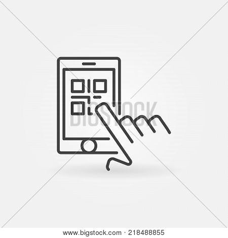 Finger touching QR code in smartphone vector line icon or symbol