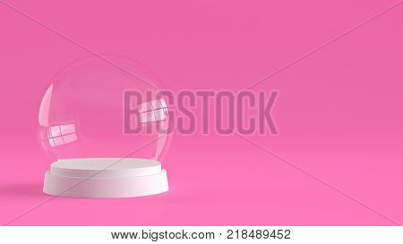 Empty Snow Glass Ball With White Tray On Pink Background. 3d Rendering.