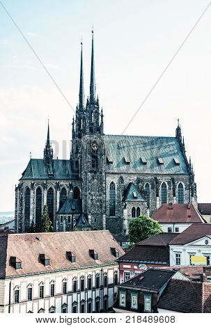 Cathedral of St. Peter and Paul Brno Moravia Czech republic. Religious architecture. Travel destination. Blue photo filter.