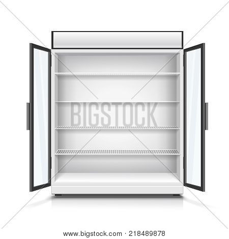 Realistic empty commercial fridge with shelves and opened doors isolated 3d illustration