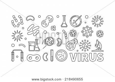 Vector virus illustration or banner made with viruses and bacterias line icons on white background