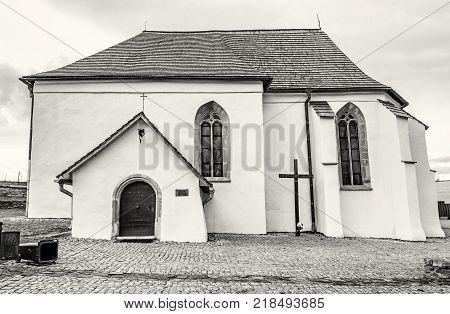 Roman catholic church of St. Anna Strazky Slovak republic. Religious architecture. Travel destination. Black and white photo.
