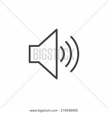 Speaker volume line icon, outline vector sign, linear style pictogram isolated on white. Sound speaker symbol, logo illustration. Editable stroke