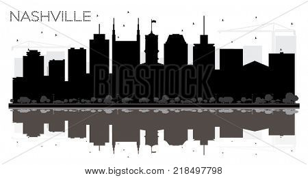 Nashville Tennessee USA City skyline black and white silhouette. Business travel concept. Nashville Cityscape with landmarks