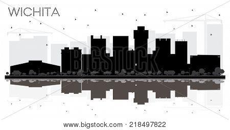 Wichita Kansas USA City skyline black and white silhouette. Business travel concept. Wichita Cityscape with landmarks.
