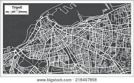 Tripoli Libya Map in Retro Style. Outline Map.