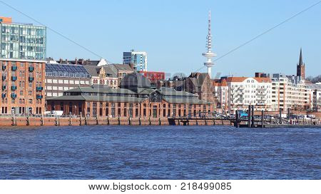 HAMBURG, GERMANY - MARCH 8th, 2014: river Elbe and the famous Fischmarkt fish market , Fischauktionshalle.