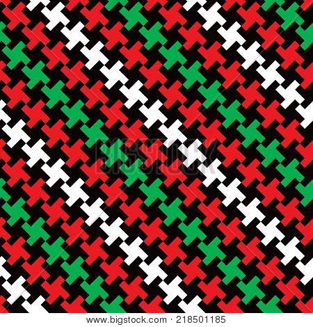 Abstract holiday hounds tooth cross pattern in red, green, black and white repeats seamlessly.
