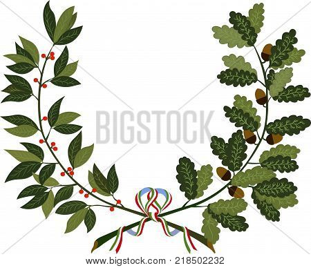 Laurel and oak wreath - symbol of victory and achievement. Design element for construction of medals awards coat of arms or anniversary logo. Vector illustration