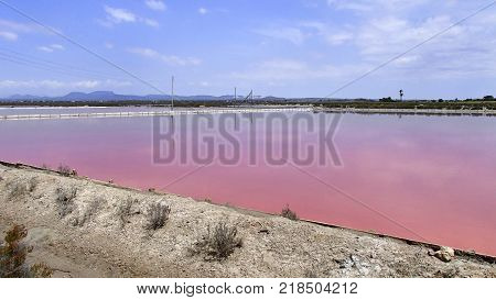 Purple sparkling water in a salt saline with a bridge and the blue sky is reflected in the lake