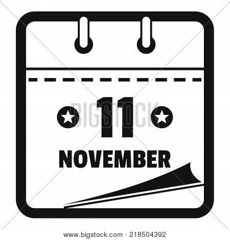 Calendar eleventh november icon. Simple illustration of calendar eleventh november vector icon for web