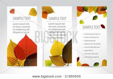 Fresh natural fall vertical banners with leafs and sample text poster