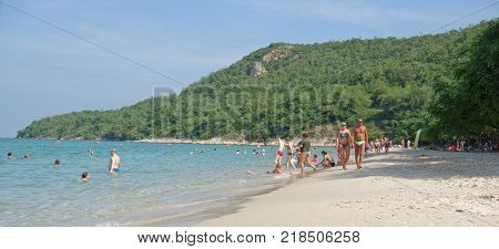 PattayaThailand- November 22;2017: Sai Kaew Beach Sattahip-Military Beach.People sunbathe and swim