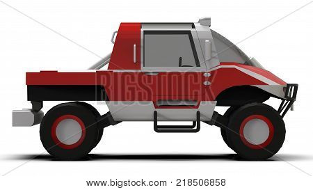 Special all-terrain vehicle for difficult terrain and difficult road and weather conditions. 3d rendering poster