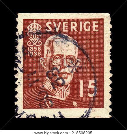 SWEDEN - CIRCA 1938: stamp printed in Sweden, shows portrait of King Gustav V, King of Sweden, (Oscar Gustaf Adolf 16 June 1858 - 29 October 1950), circa 1938