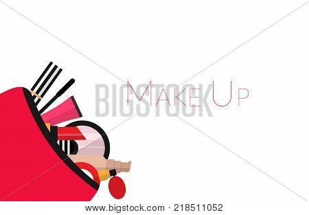 Make up concept vector flat illustration. Include cosmetic bag with lipstick, comb, brush, palette, perfume, nail polish. Vector flat design of make up procedure. Make up artist objects.