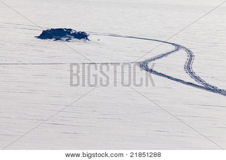 Pattern of snowmobil tracks