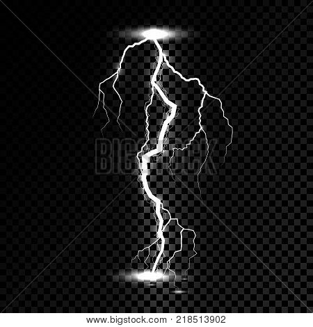 Lightning flash light thunder spark. Vector bolt lightning or electricity blast storm or thunderbolt on transparent background