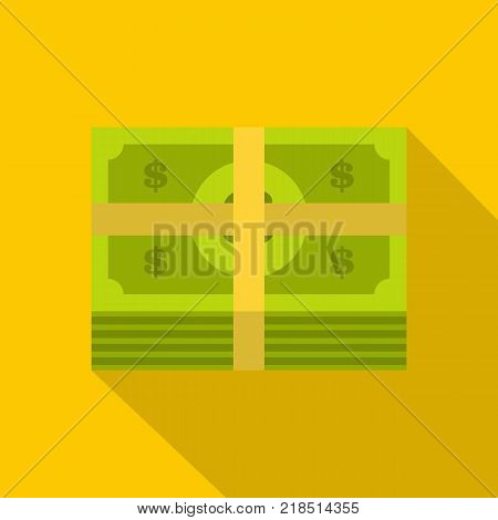 Bundle banknote icon. Flat illustration of bundle banknote vector icon for web
