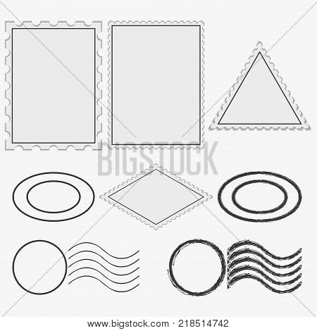 Blank postage stamps and printing. Vintage postmarks frame. Vector illustration.