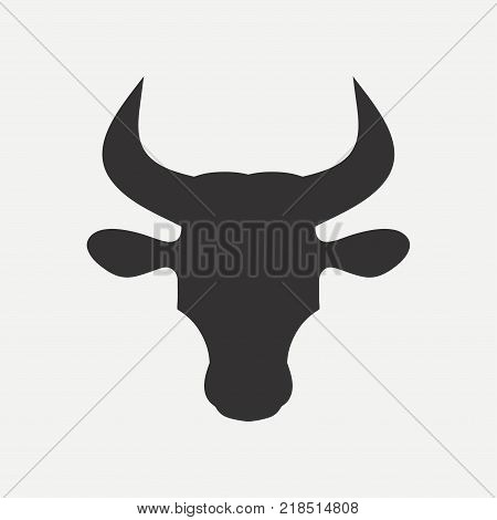 Bull head icon. Logo template. Vector illustration.