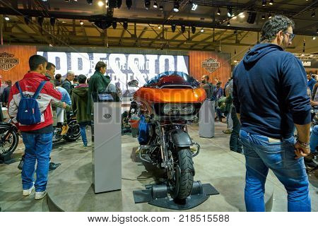 MILAN, ITALY - NOVEMBER 11, 2017: Harley-Davidson motorcycle is displayed at EICMA 2017 - 75th International Motorcycle Exhibition