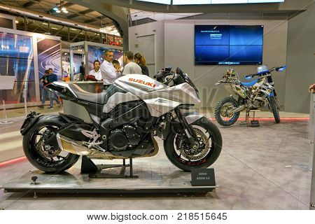 MILAN, ITALY - NOVEMBER 11, 2017: Suzuki motorcycles on display at EICMA 2017 - 75th International Motorcycle Exhibition