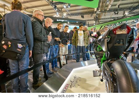 MILAN, ITALY - NOVEMBER 11, 2017: Kawasaki Ninja H2R motorcycle is displayed at EICMA 2017 - 75th International Motorcycle Exhibition