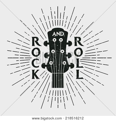 Rock music print, rock and roll stamp with guitar. Label in vintage hipster style. Graphic design for clothes, t-shirt, apparel. Vector illustration.
