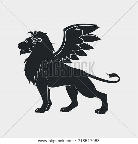 Lion with wings icon. Winged leo, logo template. Vector illustration.