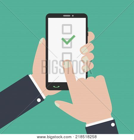 Checkboxes and checkmark on smartphone screen. Hand holds phone, finger touches the screen. Flat design for web banners, web sites. Vector illustration.