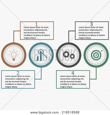 Infographics with circles and linear squares. Business template with four options, parts, steps or processes designated icons. Banner for layout, web design, diagram, strategy. Vector illustration.