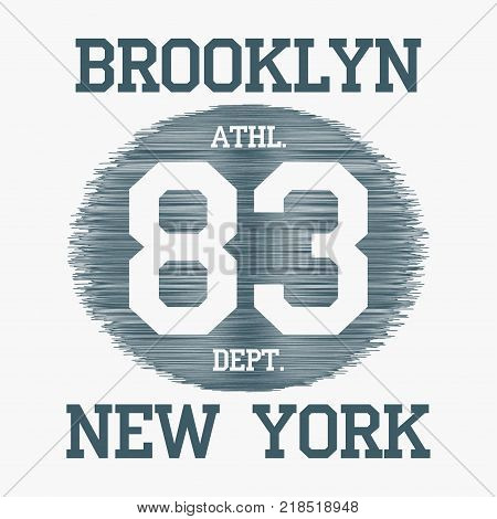 Brooklyn, New York City typography for design clothes, t-shirts, print, stamp. Number sport apparel graphics on hatched background. Vector illustration.