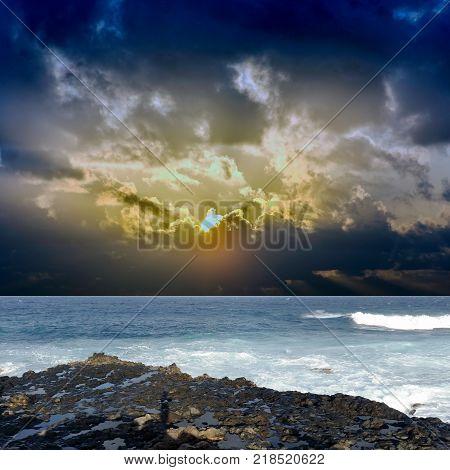 Sunrise over the ocean before storm - Los Cocoteros, Lanzarote, Canary Islands, Spain