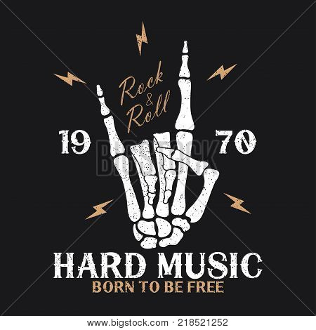 Rock music print with skeleton hand and lightning. Vintage rock-n-roll logo with lettering and grunge. Design for t-shirt, clothes, apparel. Vector illustration.