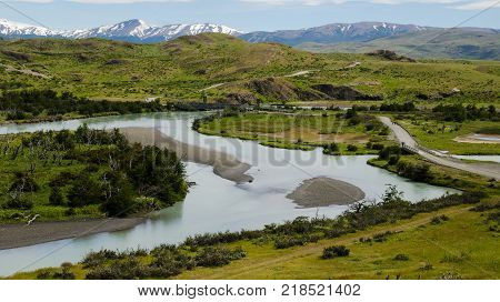 Scenic landscape at Torres del Paine National Park in Southern Patagonia Chile