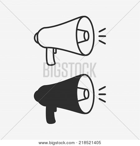 Megaphone icon. Set of loudspeaker. Vector illustration.