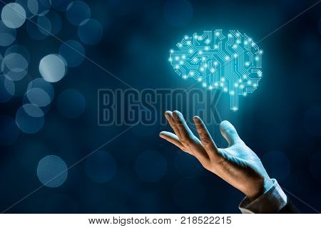 Brain with printed circuit board (PCB) design and businessman, representing artificial intelligence (AI), data mining, machine and deep learning and another modern computer technologies concepts.
