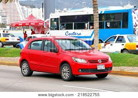 Acapulco Mexico - May 30 2017: Motor car Volkswagen Gol in the city street.