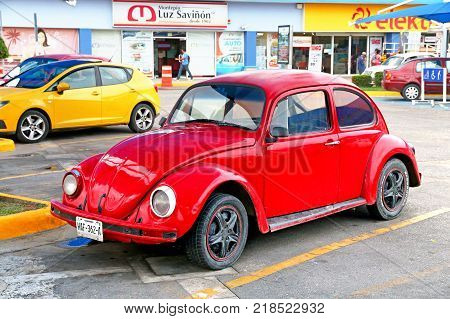 Acapulco Mexico - May 30 2017: Motor car Volkswagen Beetle in the city street.